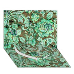 Beautiful Floral Pattern In Green Heart Bottom 3D Greeting Card (7x5)