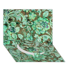 Beautiful Floral Pattern In Green Circle Bottom 3d Greeting Card (7x5)