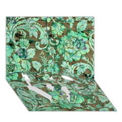 Beautiful Floral Pattern In Green LOVE Bottom 3D Greeting Card (7x5)