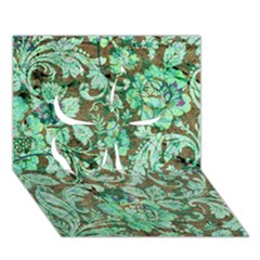 Beautiful Floral Pattern In Green Clover 3d Greeting Card (7x5)