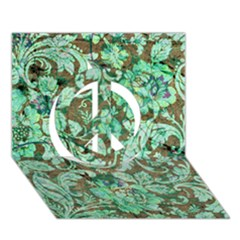 Beautiful Floral Pattern In Green Peace Sign 3D Greeting Card (7x5)
