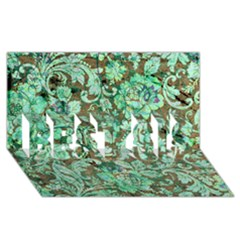 Beautiful Floral Pattern In Green BEST SIS 3D Greeting Card (8x4)
