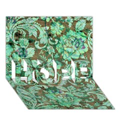 Beautiful Floral Pattern In Green Hope 3d Greeting Card (7x5)