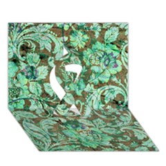 Beautiful Floral Pattern In Green Ribbon 3D Greeting Card (7x5)