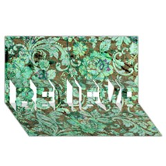 Beautiful Floral Pattern In Green BELIEVE 3D Greeting Card (8x4)