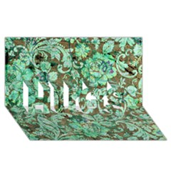 Beautiful Floral Pattern In Green HUGS 3D Greeting Card (8x4)