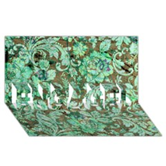 Beautiful Floral Pattern In Green Engaged 3d Greeting Card (8x4)