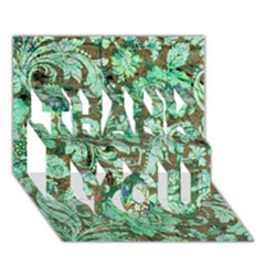 Beautiful Floral Pattern In Green THANK YOU 3D Greeting Card (7x5)