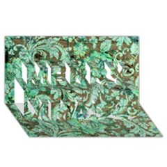 Beautiful Floral Pattern In Green Merry Xmas 3D Greeting Card (8x4)