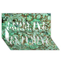 Beautiful Floral Pattern In Green Congrats Graduate 3D Greeting Card (8x4)