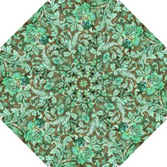 Beautiful Floral Pattern In Green Hook Handle Umbrellas (small)