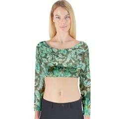 Beautiful Floral Pattern In Green Long Sleeve Crop Top
