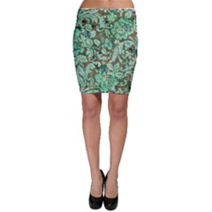Beautiful Floral Pattern In Green Bodycon Skirts