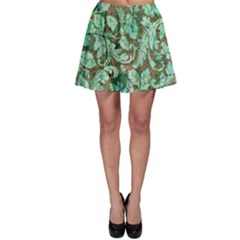 Beautiful Floral Pattern In Green Skater Skirts
