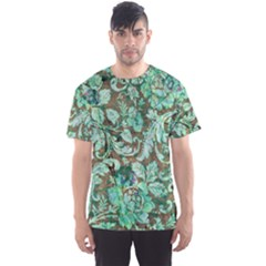 Beautiful Floral Pattern In Green Men s Sport Mesh Tees