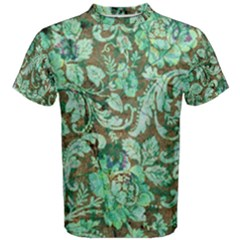 Beautiful Floral Pattern In Green Men s Cotton Tees