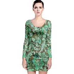 Beautiful Floral Pattern In Green Long Sleeve Bodycon Dresses