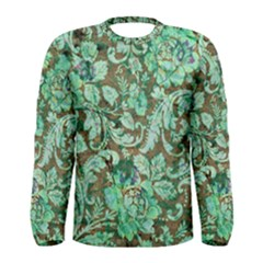 Beautiful Floral Pattern In Green Men s Long Sleeve T Shirts