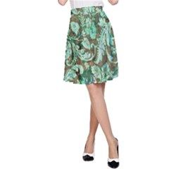 Beautiful Floral Pattern In Green A-Line Skirts