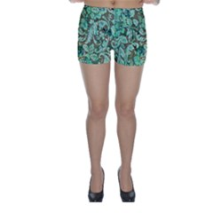Beautiful Floral Pattern In Green Skinny Shorts