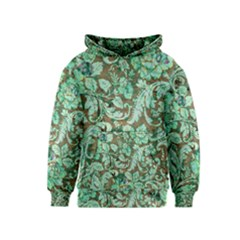 Beautiful Floral Pattern In Green Kid s Pullover Hoodies