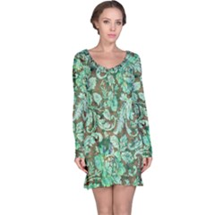 Beautiful Floral Pattern In Green Long Sleeve Nightdresses