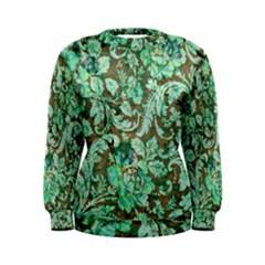 Beautiful Floral Pattern In Green Women s Sweatshirts