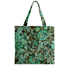 Beautiful Floral Pattern In Green Zipper Grocery Tote Bags
