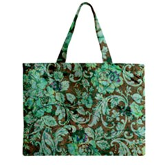 Beautiful Floral Pattern In Green Zipper Tiny Tote Bags