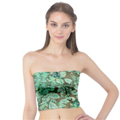 Beautiful Floral Pattern In Green Women s Tube Tops