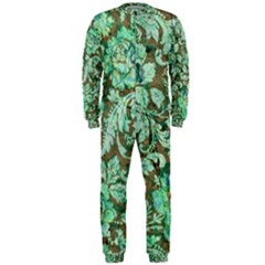 Beautiful Floral Pattern In Green OnePiece Jumpsuit (Men)