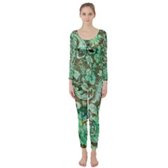 Beautiful Floral Pattern In Green Long Sleeve Catsuit