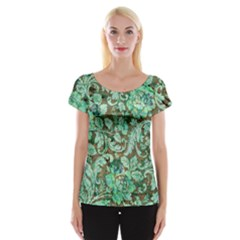 Beautiful Floral Pattern In Green Women s Cap Sleeve Top
