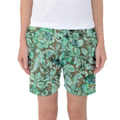 Beautiful Floral Pattern In Green Women s Basketball Shorts