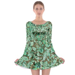 Beautiful Floral Pattern In Green Long Sleeve Skater Dress