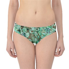 Beautiful Floral Pattern In Green Hipster Bikini Bottoms