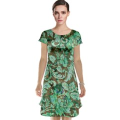 Beautiful Floral Pattern In Green Cap Sleeve Nightdresses