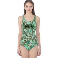 Beautiful Floral Pattern In Green Women s One Piece Swimsuits
