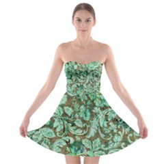 Beautiful Floral Pattern In Green Strapless Bra Top Dress
