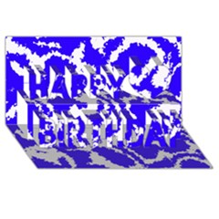Migraine Blue Happy Birthday 3D Greeting Card (8x4)