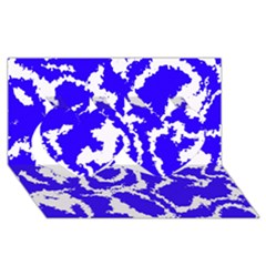 Migraine Blue Twin Hearts 3D Greeting Card (8x4)