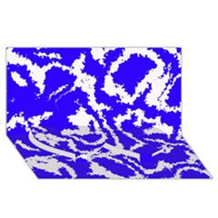 Migraine Blue Twin Heart Bottom 3d Greeting Card (8x4)