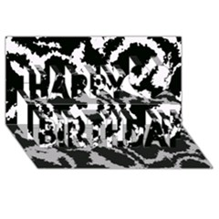 Migraine Bw Happy Birthday 3D Greeting Card (8x4)