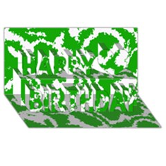 Migraine Green Happy Birthday 3D Greeting Card (8x4)