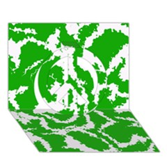 Migraine Green Peace Sign 3d Greeting Card (7x5)