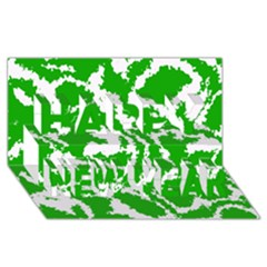 Migraine Green Happy New Year 3D Greeting Card (8x4)