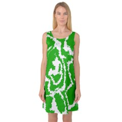 Migraine Green Sleeveless Satin Nightdresses