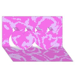 Migraine Pink Twin Hearts 3d Greeting Card (8x4)