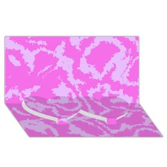 Migraine Pink Twin Heart Bottom 3D Greeting Card (8x4)