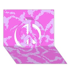Migraine Pink Peace Sign 3d Greeting Card (7x5)